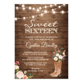 Rustic Boots Cowgirl Sweet Sixteen 16 Invitations