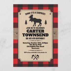 Rustic Buffalo Plaid Moose Kraft Panel Birthday Invitation