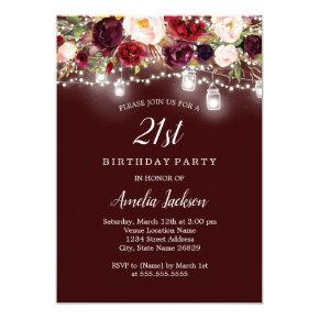 Rustic Burgundy Floral Lights 21st Birthday Invitation
