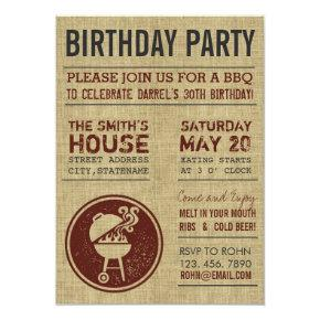 Rustic Burlap Birthday Party BBQ Invitations