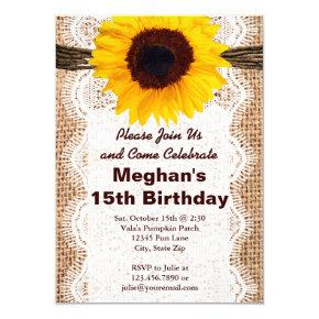 Rustic Burlap Sunflower Birthday Party