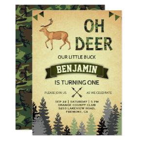 Rustic Camo Deer Hunting First Birthday Invitation