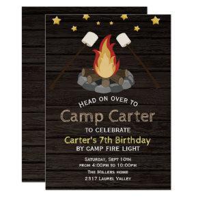 Rustic Camp Fire Birthday Invitation