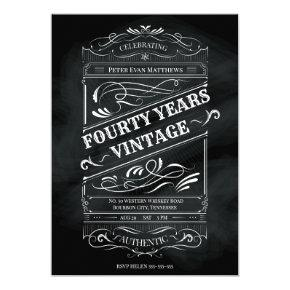 Rustic Chalkboard 40th Birthday Man Vintage Invitation