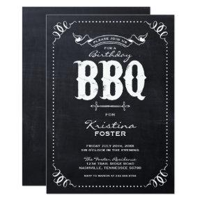 Rustic Chalkboard Birthday Party BBQ Invitations