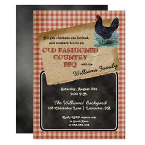 Rustic Chicken Backyard Cookout BBQ Picnic Invitations