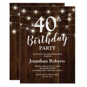 Rustic Country 40th Birthday Party | Custom Age Invitation