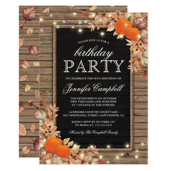 Rustic Country Autumn Fall Birthday Party