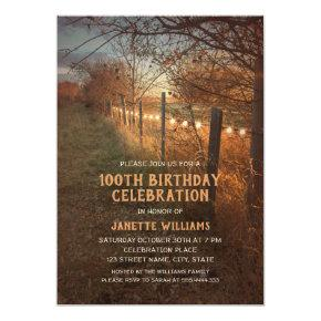 Rustic Country Farm 100th Birthday Invitations