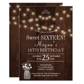 Rustic country lights barn wood sweet sixteen card