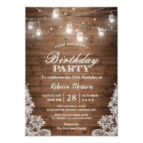 Rustic Country Mason Jar Lights Birthday Party Invitations