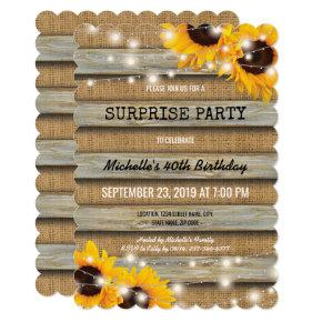 Rustic Country Surprise Birthday Party Invitation