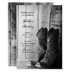 Rustic Cowboy Boots Country Western Birthday Party Invitation
