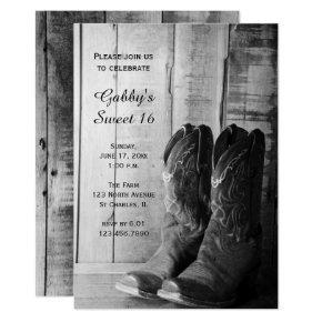 Rustic Cowboy Boots Sweet 16 Barn Birthday Party Invitation