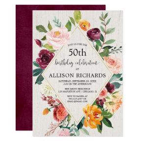 Rustic fall floral adult birthday, fall autumn invitation