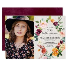 Rustic fall floral adult birthday photo invitation