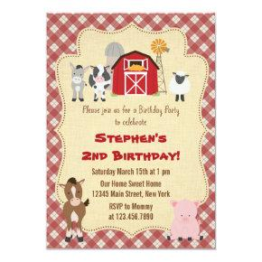 Rustic Farm Animal Birthday Party Invitations