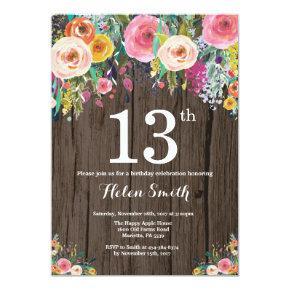 Rustic Floral 13th Birthday Invitation