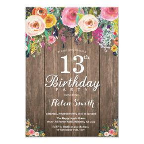 Rustic Floral 13th Birthday Invitation for Women