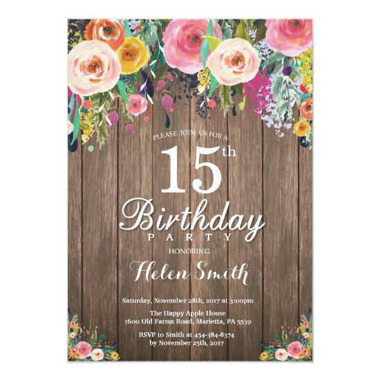 rustic floral 15th birthday invitations for women candied clouds