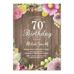 Rustic Floral 70th Birthday Invitation for Women