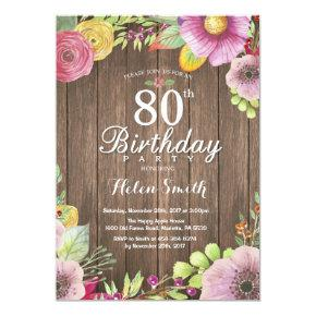 Rustic Floral 80th Birthday Invitations For Women