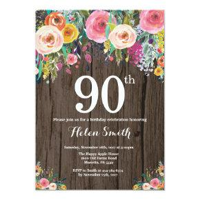 Rustic Floral 90th Birthday Invitation
