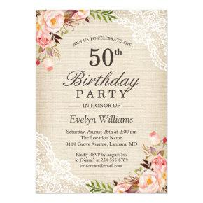 Rustic Floral Ivory Burlap Lace Birthday Party Invitations