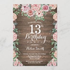 Rustic Floral Pink Peonies 13th Birthday Invitation