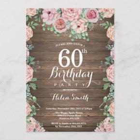 Rustic Floral Pink Peonies 60th Birthday Invitation