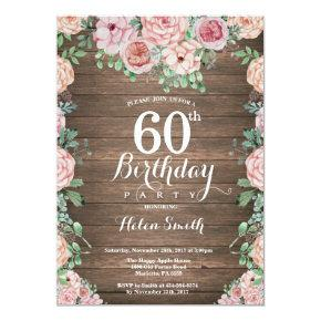Rustic Floral Pink Peonies 60th Birthday Invitation