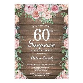 Rustic Floral Pink Peonies Surprise 60th Birthday Invitation