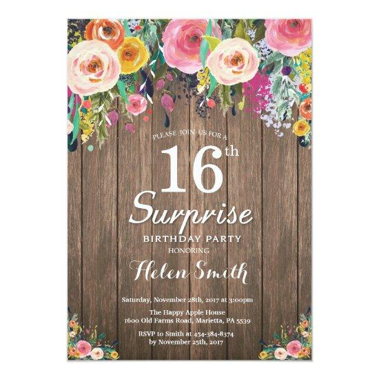 Rustic Floral Surprise 16th Birthday Invitation