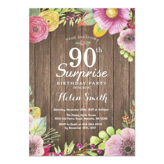 Rustic Floral Surprise 90th Birthday Invitations
