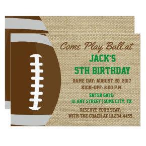 Rustic Football Themed Birthday Invite