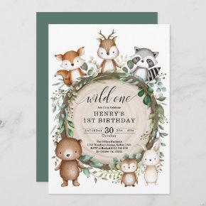 Rustic Forest Woodland Animals Wild One Birthday Invitation