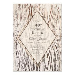 Rustic Geometric Wood Grain 40th Birthday Dinner Invitation