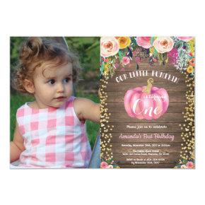 Rustic Girl Pumpkin First Birthday Floral Gold Invitations