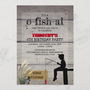 Rustic 'Gone Fishing' Kids Birthday Party Invitation