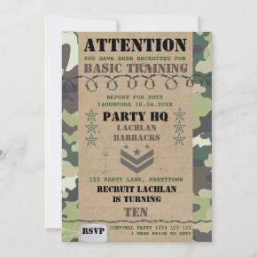 Rustic Green Camouflage Army Kids Party Invitation