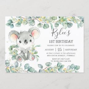 Rustic Greenery Eucalyptus Cute Koala Birthday Invitation