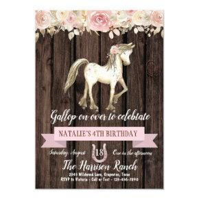 Rustic Horse Watercolor Flower Pony Birthday Party Invitation