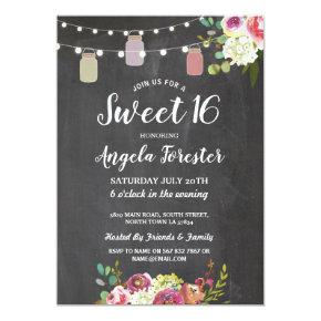 Rustic Jars Sweet 16 Party Chalk Floral Lights Invitations