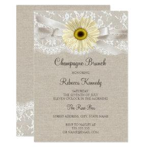 Rustic Lace Sunflower Bridal Shower Brunch Invite