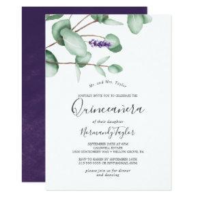 Rustic Lavender and Eucalyptus Quinceañera Invitation
