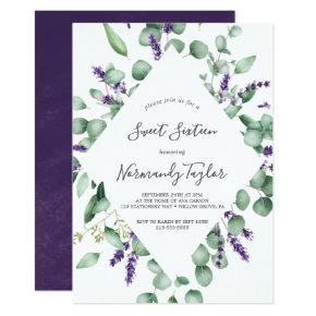 Rustic Lavender and Eucalyptus Sweet Sixteen Invitation