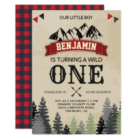 Rustic Lumberjack Boys Wild One 1st Birthday Party Invitation