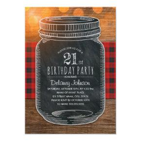 Rustic Mason Jar Backyard 21st Birthday Party Invitation