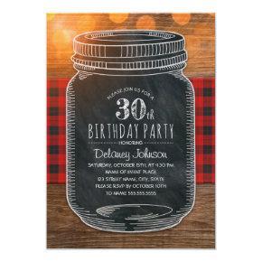 Rustic Mason Jar Backyard 30th Birthday Party Invitation