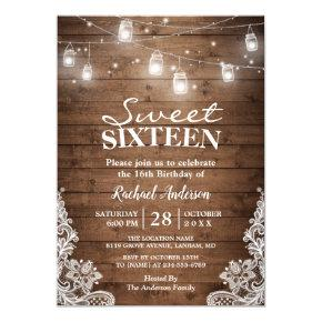 Mason Jar Sweet 16 Birthday Invitations Candied Clouds